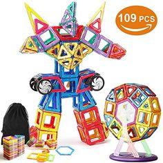 ... 109 Piezas Bloques Magnéticos Juguetes Construcción Juego Creativo y  Educativo Para Los Niños Más de 3 Años  Amazon.es  Juguetes y juegos ddfea77323c