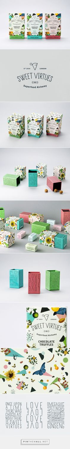 Sweet Virtues chocolate truffles by Iwantdesign. Source: Behance. Pin curated by #SFields99 #packaging #design #inspiration #chocolate #box #texture #floral #typography