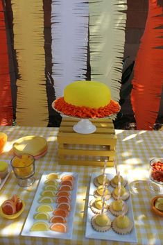 Sunshine baby shower party dessert table! See more party planning ideas at CatchMyParty.com!