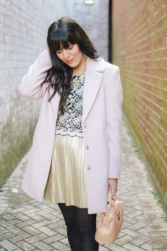 Happy New Year by Curious Natalia/ Forever 21 outfit, gold skirt, blush coat, black lace top.