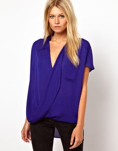 Asos Collection Asos Blouse with Oversized Drape Collar and Wrap in Blue (cobalt) - Lyst