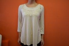 Tribal Scoop Neck Top | Ivory 3/4 Sleeve top with lace cutout detail.  S, M, XL 95% Rayon, 5% Spandex | Primary View | Tangerine Boutique