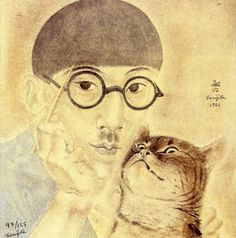 """annedebretagneduchesseensabots: """"To day it occurred to me that I had not visited my dear friend Tsuguharu Fujita for quite a while Self portrait with Minou , Foujita 1926 """" Art And Illustration, Illustrations, Japanese Art Modern, Japanese Artists, Magic Realism, Art Japonais, Art Database, Artist At Work, Cat Art"""