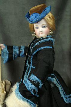 "Stunning 18"" Barrois Fashion with Au Parades Des Enfants stamp on kid over wood body."