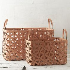 Terrain Woven Leather Basket