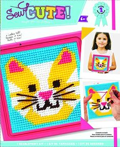 Kids' Sewing Kits - Colorbok Cat Learn To Sew Needlepoint Kit 6Inch by 6Inch Pink Frame -- See this great product.