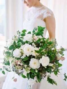 Elegant round wedding bouquet: http://www.stylemepretty.com/2015/12/10/orgnaic-elegant-napa-wedding-at-carneros-inn-part-i/ | Photography: Coco Tran - http://www.cocotran.com/