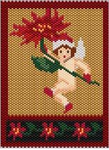 Poinsettia Fairy Pattern. Great for Christmas, or any time for a fairy lover. Bottom portion can be used for a bracelet. Graph provided in color code mode with numbers and quntities of Delcias Provided. 17 colors