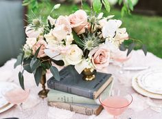 Fresh Bridal Shoot With Lush Florals And Pastels - Weddingomania Dusky Blue Wedding, Blush Wedding Flowers, Rose Wedding, Floral Wedding, Wedding Bouquets, Dream Wedding, Gatsby Wedding, Blue Centerpieces, Centerpiece Decorations