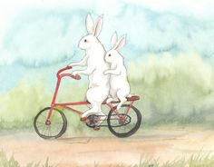 Bunnies on a Bicycle Art Print by Bluedogrose | Society6