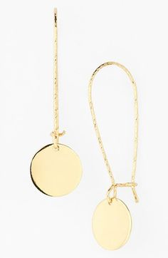 Free shipping and returns on Nordstrom Disc Drop Earrings at Nordstrom.com. Shiny, polished discs neatly dangle from the long twisted wires of minimalist drop earrings.
