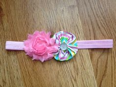 Headband Light Pink Chiffon Flower and Striped Yoyo with Clear Gem Accent on Light Pink Elastic - Baby Headband, Yoyo Headband, Accessory on Etsy, $4.50