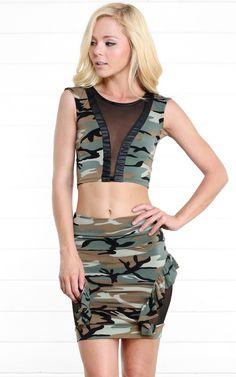 Camouflage Mesh Crop Top