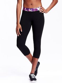Women's Go-Dry Patterned-Waist Yoga Capris