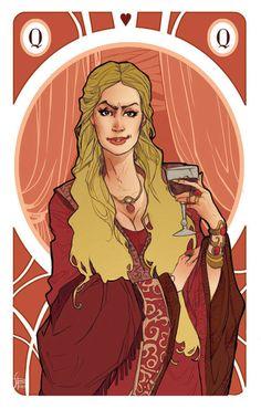 Game of Thrones cards | the Queens by simona bonafini, via Behance Cesei Lannister https://www.facebook.com/simonabonafiniartwork