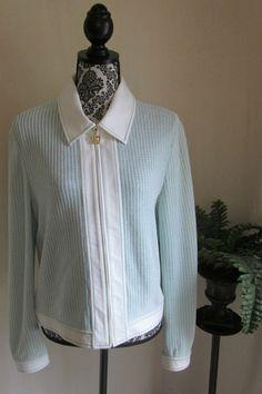 ST JOHN SPORT MARIE GRAY Mint Green White Santana Knit Full Zip Jacket L Large…