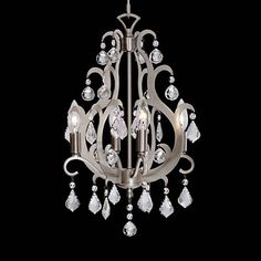 Delicate crystals are paired with a satin nickel finish, making this swag chandelier a chic accent piece for living rooms and more. 20 high x wide x canopy is wide x hang weight is lbs. Includes 15 feet chain and 18 feet wire. Style # at Lamps Plus. Closet Door Hardware, Cottage Lighting, Kitchen Lighting, Closet Remodel, Nickel Finish, Satin Finish, Chandelier Lighting, Chandeliers, Candelabra