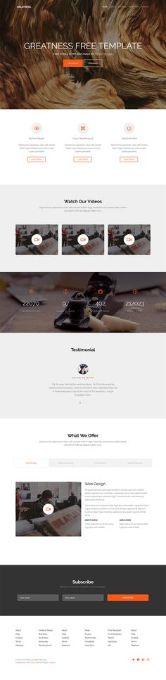 Greatness is a free bootstrap template for multi purpose websites. It has a clean, minimal and modern design ideal for any type of business.