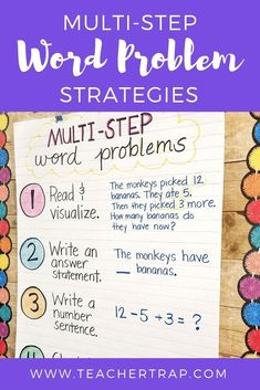 Simple strategies for helping students master multi-step word problems! Word problems with multiple steps and different operations can be tricky for students. This easy process helps kids break down the problem and think through the steps. Word Problems 3rd Grade, Math Problems, Third Grade Math, Fourth Grade, Grade 1, Second Grade, Math Problem Solving, Solving Equations, Math Anchor Charts