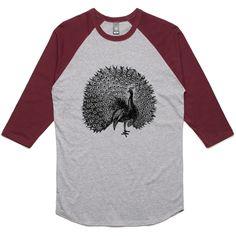 theIndie Beautiful Peacock Illustration (Black) 3/4-Sleeve Raglan Baseball T-Shirt