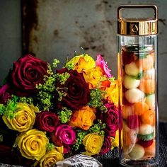 Melon ball detox water and flowers @ putyourheartinit // sign up to the link in our bio for 16 free #detoxwater recipes!