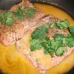 Lemon-Pepper Salmon Allrecipes.com  The butter isn't necessary and if you use olive oil spray (0 cals) instead of olive oil, you can drastically cut the amount of calories and fat in this dish!