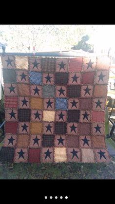 Primitive star rag quilt Rag Quilt Patterns, Primitive, Quilts, Blanket, Stars, Quilt Sets, Sterne, Couture Facile, Blankets
