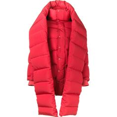 Balenciaga Swing Puffa Jacket ($2,850) ❤ liked on Polyvore featuring outerwear, jackets, red, cropped coat, quilted coat, funnel-neck coats, oversized coat and funnel collar coat