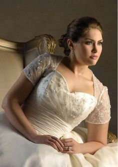 Organza Strapless Short Sleeves A Line Empire Plus Size Wedding Dress with Bow