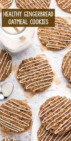 Healthy Iced Gingerbread Oatmeal Cookies – soft, chewy & the BEST holiday cookies! I'm OBSESSED with this easy recipe! homemade gluten free gingerbread cookies for the holidays. Healthy Christmas Cookies, Healthy Oatmeal Cookies, Holiday Cookie Recipes, Easy Cookie Recipes, Best Holiday Cookies, Healthy Christmas Recipes, Free Recipes, Easy Recipes, Gluten Free Gingerbread Cookies