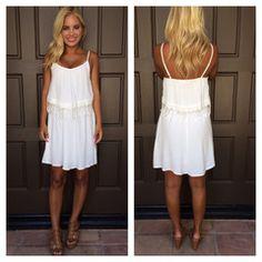 Swept Away Crochet Lace Detail Dress - WHITE