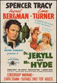 "Dr. Jekyll and Mr. Hyde (MGM, 1941). Australian One Sheet (27"" X 40""). Horror. Starring Spencer Tracy, Ingrid Bergman, Lana Turner, Donald Crisp, Ian Hunter, Barton MacLane, C. Aubrey Smith, Peter Godfrey, and Sara Allgood. Directed by Victor Fleming."