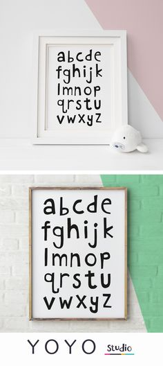 monochrome alphabet print in lowercase. Great educational poster for the nursery. Printable artwork makes really affordable nursery decor.