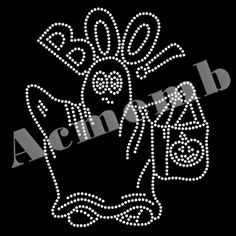 Halloween Rhinestone Iron On Transfer BOO Bling Motifs