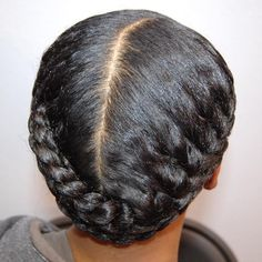 Centre-Parted Black Braided Updo