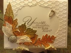 Stampin Up fall card Card by Mary Anne Grimmer I have these leaves and die Fall Cards, Winter Cards, Holiday Cards, Christmas Cards, Winter Karten, Leaf Cards, Embossed Cards, Stamping Up Cards, Marianne Design