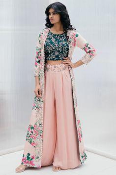 Buy Silk Printed Jacket Palazzo Set by Mrunalini Rao at Aza Fashions Party Wear Indian Dresses, Designer Party Wear Dresses, Indian Gowns Dresses, Indian Fashion Dresses, Kurti Designs Party Wear, Dress Indian Style, Indian Wedding Outfits, Indian Designer Outfits, Kurta Designs