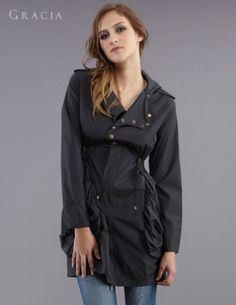 military style trench with gold buttons