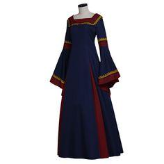 Navy Blue-Bordeaux Medieval Renaissance Victorian Dress