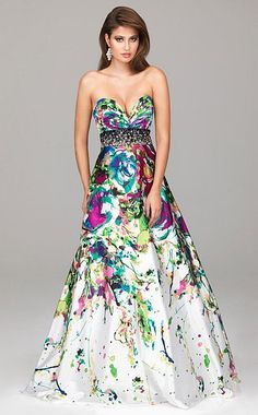 Evenings by Allure Bold Splash Print Prom Dress A503