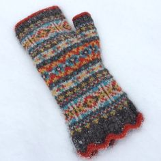 "Fair Isle ladies' fingerless mittens, knit in Jamieson's of Shetland's ""Shetland Spindrift"" 100% Shetland wool yarn.  From the ""Calling Scotland"" hat and fingerless mittens set knitting kit, available from the designer, Mary Ann Stephens, through her Kidsknits.com online knitting shop."