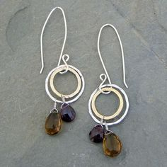 Hammered Circles Garnet and Smokey Quartz Earrings by Elizabeth Plumb Jewelry