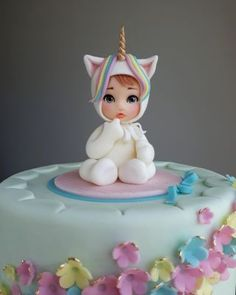 Baby girl-unicorn - cake by Couture cakes by Olga Torta Baby Shower, Shower Cakes, Cupcakes, Cupcake Cakes, Fondant Cakes, Bolo Laura, Fondant Baby, Cake Baby, Baby Cake Topper