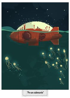 """""""20.000 Leagues Under the Sea"""" by Jules Verne by Mihiș Design, via Behance"""