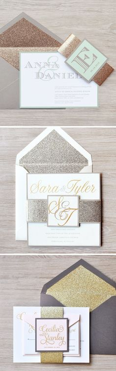 Glitter is a bride's best friend! With so many different invitation designs and glitter colors the possibilities are endless. #invitation #glitter #gold #rosegold