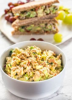 This Avocado Tuna Salad is so delicious and loaded with good stuff such as chunks of tuna, avocados, cucumbers and my secret ingredient, sun-dried tomatoes! This avocado tuna salad is creamy, full of nutrients and perfect for lunch. #tunasalad #avocadotunasalad
