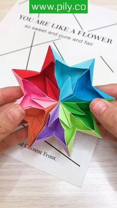Paper Crafts Origami, Paper Crafts For Kids, Diy Paper, Paper Art, Craft With Paper, Diy Crafts Hacks, Diy Crafts For Gifts, Instruções Origami, Oragami
