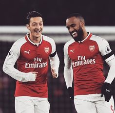 Lacazette celebrates with Ozil as he toasts scoring the opening goal of the game after just 2 minutes and 43 seconds Arsenal Football, Arsenal Fc, Football Soccer, Football Stuff, Guys Be Like, Cute Guys, Long Quilted Coat, Great Team, Premier League