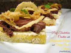 Beef Tenderloin Crostini with Horseradish Cream and Crispy Onion Straws -- From Gate to Plate #BeefCheckOff #beefitswhatsfordinner #MC