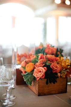 San Clemente Wedding by Troy Grover Photographers Wooden Box Centerpiece, Flower Centerpieces, Flower Arrangements, Centerpiece Wedding, Centrepieces, Orange Wedding, Fall Wedding, Dream Wedding, Rustic Wooden Box